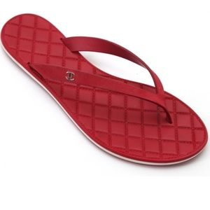 Chanel Red  Leather Strap Cc Quilted Flip Flop 37